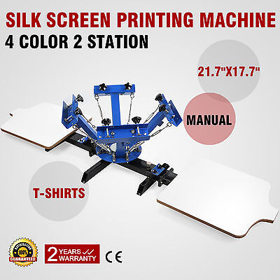 4 Color 2 Station Silk Screen Printing Machine Cutting Clothes Plastic Equipment