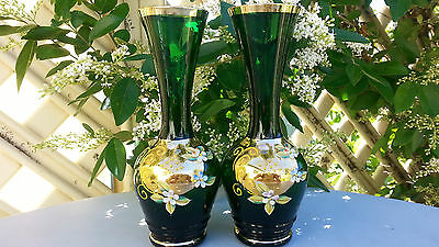 2 Vintage Green Gold Gilded Hand Painted Vase 17Cms High