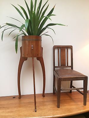 Vintage Retro Style Solid Wood Barrel Plant Stand Planter