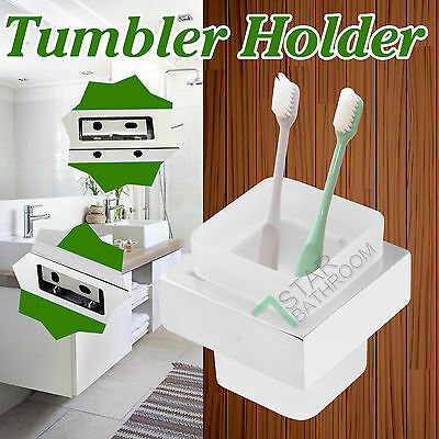 Wall Mounted Tumbler Holder Square Ground Glass Cup Bathroom Accessories SS304