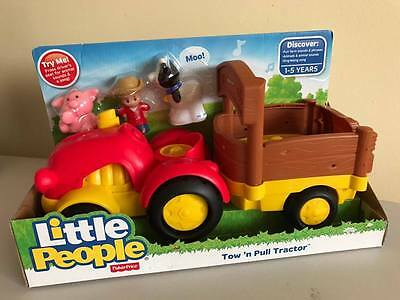 NEW Fisher Price Little People Tow n Pull Tractor RRP $36.99 Cow Farmer Pig Farm