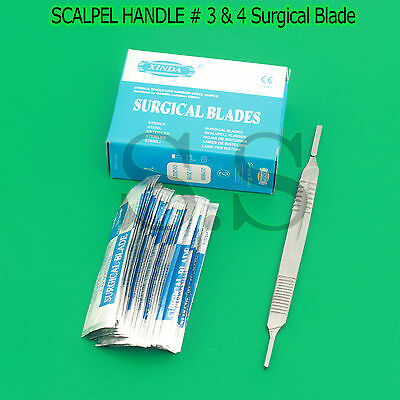 1 SCALPEL KNIFE HANDLE # 3 & 4 + 100 Pcs STERILE SURGICAL BLADE #10 #15 #20 #22