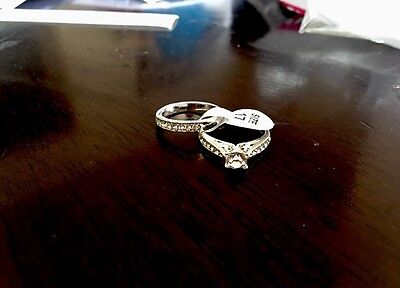 10ct Gold Solid Gold Filled 1.0 Ct Created American Diamond Ring Set Size 5