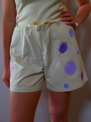 vintage retro true 90s 12 M beige purple shorts high waist excellent