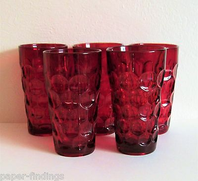 FIVE Imperial Provincial pattern Ruby Red Water Tumblers Perfect Condition - 5