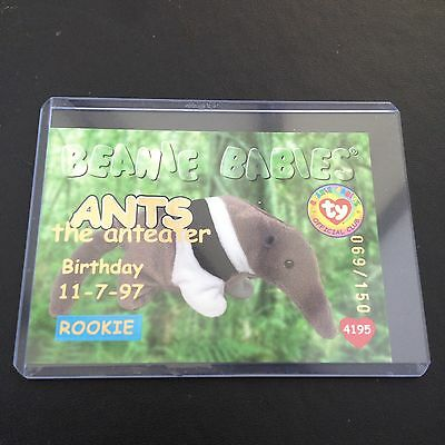 Rare TY Beanie babies Trading card Gold Ants 069/150 Series 1