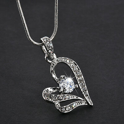 Fashion Women's Heart Crystal Rhinestone Silver Chain Pendant Necklace Jewelry