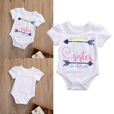 Newborn Toddler Baby Girl Clothes Little Sister Arrows Romper Bodysuit Outfits