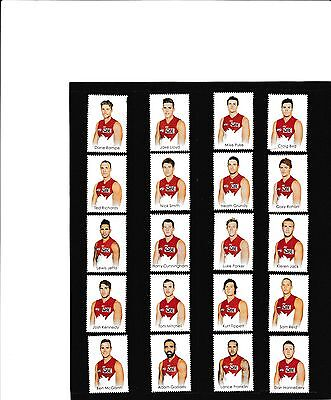 AFL 2015 Sydney Swans footy players 20 stamp tabs & captain collector card