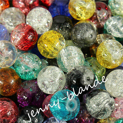 New Glass Mixed Round Crackle Crystal Charms Beads Jewelry Making 4/6/8/10/12mm