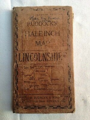 Vintage linen Ruddocks / Bacon map of Lincolnshire