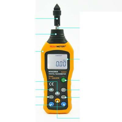MS6208A Contact Digital Tachometer RPM Meter Rotation Speed 50-19999RPM Test
