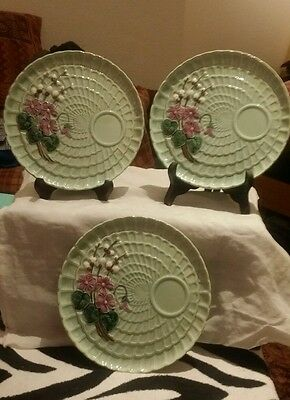 3 Western Germany Majolica Zell ? Plates Rare Look Vintage