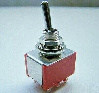 3PDT Three Pole Latching Toggle Switch On-Off-On Action Double Throw Panel Mount