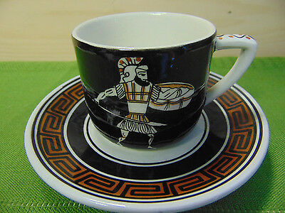 Teacup & Saucer Archaic Made in Greece Hand Painted Demitasse