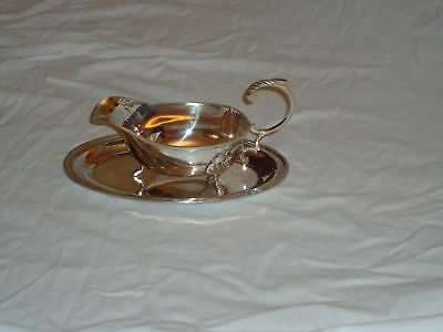 Silver Plated Sauce Boat & Tray -Gavy-Mustard-Mint Nice Gift