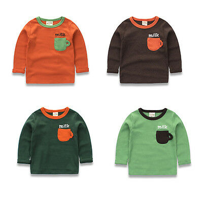 Baby Boys Long Sleeve Pocket Solid Sweatshirt Pullover Blouse Tops T Shirt 2-7T
