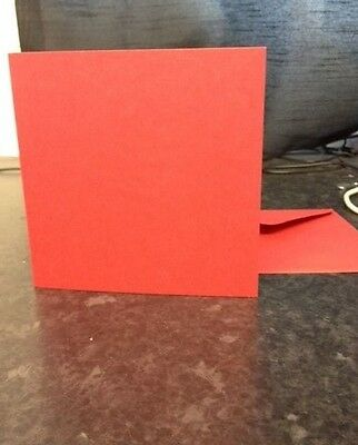 "10 RED 5"" x 5"" 270GSM CARD BLANKS WITH ENVELOPES CARD MAKING SUPPLIES VALENTINES"