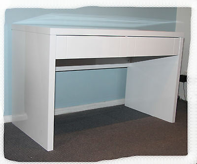 Kylie 2 Drawer Desk (without hutch) - Hi Gloss White - BRAND NEW