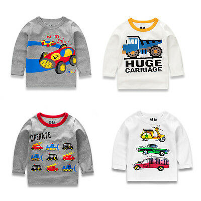 Baby Boys Long Sleeve Car Printed Sweatshirt Pullover Blouse Tops T Shirt 2-7T