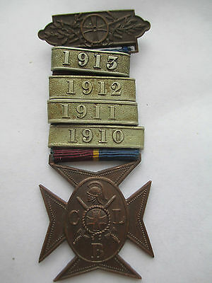 Church Lads Brigade. Bronze Cross Medal with bars 1910, 1911, 1912 & 1913