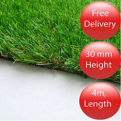 'Fylde' Artificial Grass Lawn 30mm 4m - Cheap Fake Garden Turf / Astro Offcut