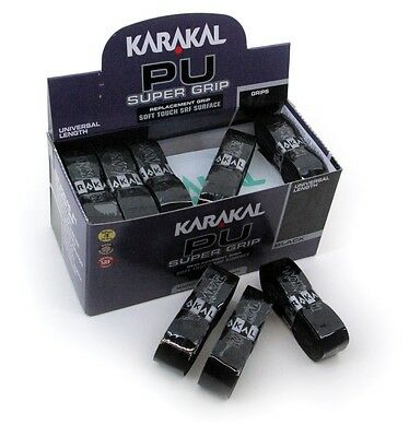 KARAKAL PU SUPER GRIP Grips Pack of 12 All BLACK Badminton Squash Tennis