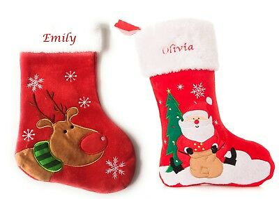 Personalised Embroidered Christmas Stocking, Snowman Santa