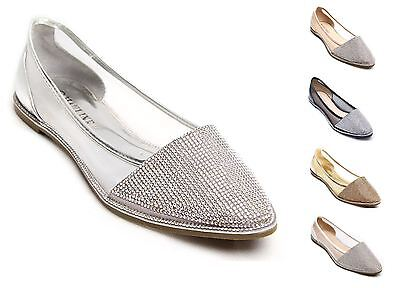 New Womens Diamante Sparkly Flat Point Ballerina Shoes