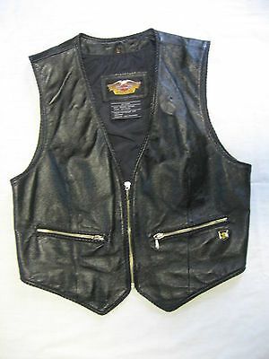 Womens Leather Harley Davidson Vest Large Embroidered Good Used Condition!!!