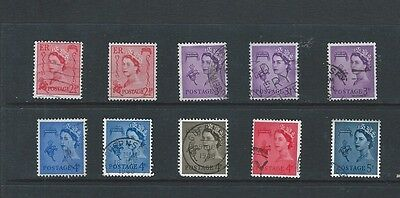 1958 - 67 Qeii - Guernsey Vfu Set Of 10 Includes Shades & Cream/white Paper