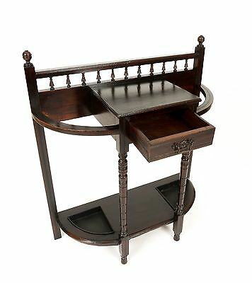 Antique Edwardian Mahogany Stick Umbrella Hall Stand with Drawer Furniture