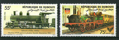 1985 Djibouti Steam Locomotives Pair Of Commemorative Stamps Mnh