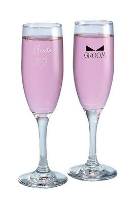 Hortense B. Hewitt 86702 Bride & Groom Flutes With Bow Tie