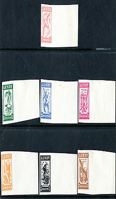 Lundy Island 1951 Flying Bird Definitives Set Of All 7 Imperforate Proofs Mint