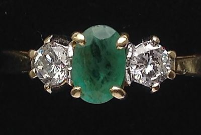 18ct Gold Emerald and Diamond Ring size M