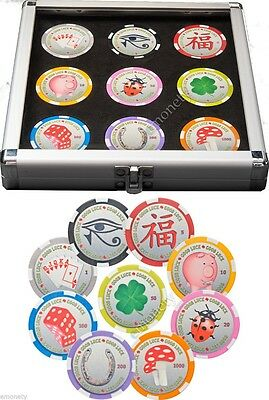 Palau: 2012 9 x $1 Poker Chips Good Luck Coin Set Cased with Certificate
