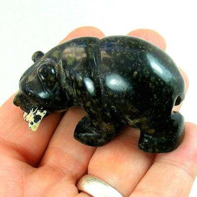 Large Kambaba Jasper Bear With Agate Fish Hand Carved Gemstone Ornament 5.5cm
