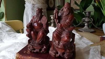 2 Vintage Oriental Carved Wooden Seated Statues of Bearded Men, Scholars