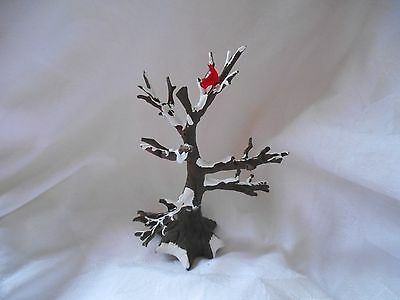 "Dept 56 Village Accessories ""Tree with Snow and Red Birds""  ~ #50010"