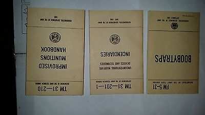 Lot of 3 Army Technical Manual - Incendiaries  Improvised Munitions - Boobytraps