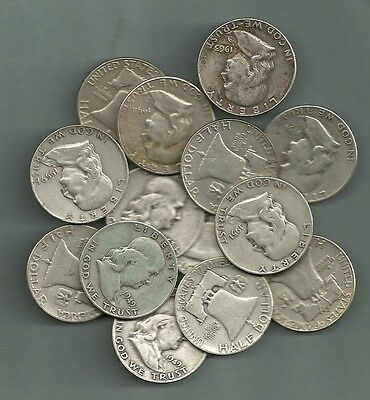 1948-1963 FRANKLIN HALF DOLLARS, US 90% Silver Coin Lot - 6 Coins - $3.00 Face