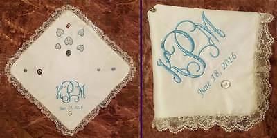 Embroidered Wedding Handkerchief MADE TO ORDER