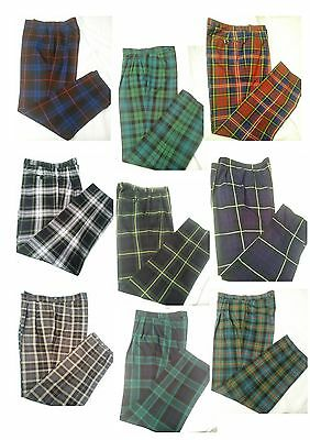 New Mens Scottish Tartan Trousers Golf MADE IN SCOTLAND