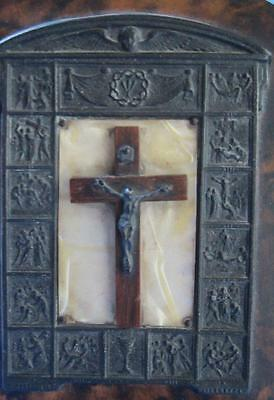Vintage Mother of Pearl Easel Crucifix Stations of the Cross