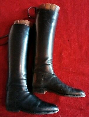 vintage leather riding boots with original woods.