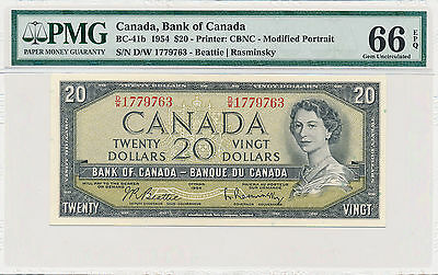 Bank of Canada Modified 20 Dollars 1954 D/W BC-41b - PMG 66 EPQ