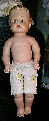 """14"""" Vintage/Old Molded Rubber Baby Girl Doll, One-Piece-Body, Unmarked"""