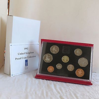 1992 UNITED KINGDOM 9 COIN ROYAL MINT DELUXE PROOF SET WITH EEC 50p - complete
