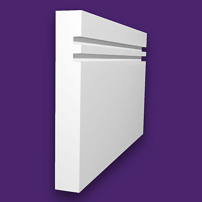 White Primed Superior Grade MDF Skirting Board - 18x144mm 2 Square Grooves